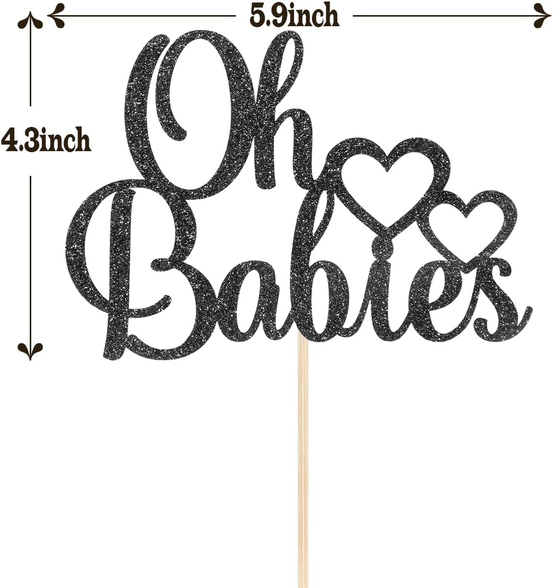 KakaSwa Oh Babies Cake Topper First Birthday Blue Glitter Gender Reveal Theme Party Supplies Cake Decoration for Twins Baby Shower