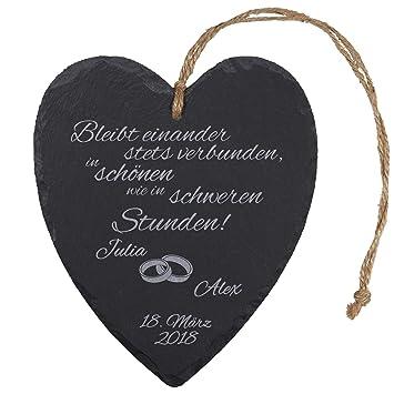 Amazon De Schieferherz Zur Hochzeit Mit Gravur Ringe Romantische