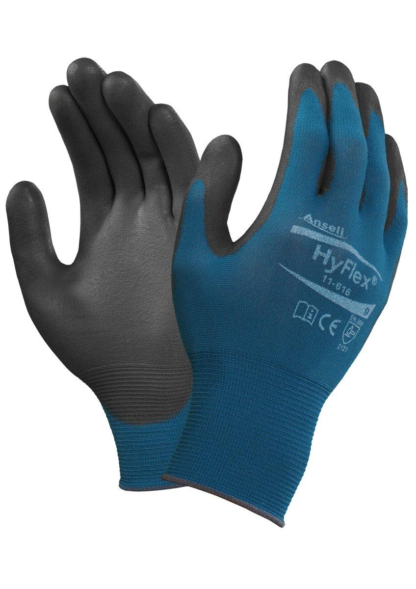 Protecci/ón mec/ánica Ansell 11-616//6 HyFlex Multiusos guante Tama/ño 6 Negro bolsa de 12 pares