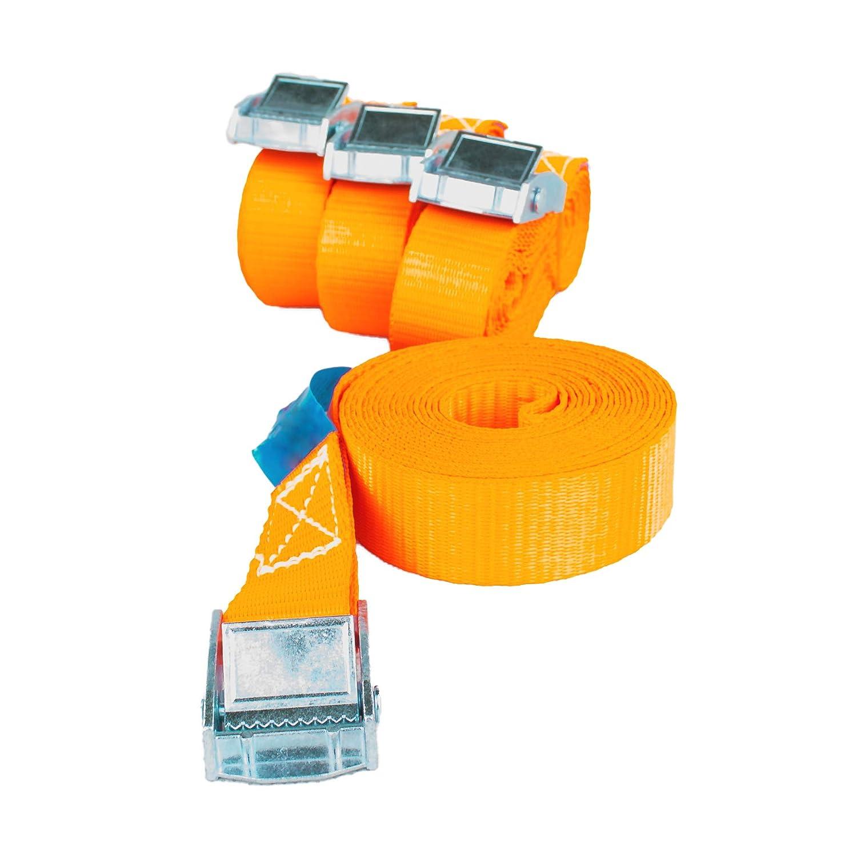 Safetytex Spanngurt Zurrgurt Schnellverschluss Klemmschloss 1 m bis 6 m Verschiedene L/ängen und w/ählbare St/ückzahl 250kg DIN EN 12 195-2 10 St/ück 2.5 cm x 3 m