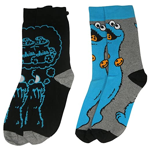 Officially Licensed Sesame Street Cookie Monster Assorted Socks (2 Pairs)