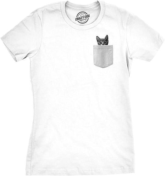 0747eb2426a2 Womens Pocket Cat Funny Printed Peeking Kitten T Shirt for Ladies (White) -  S