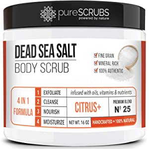 pureSCRUBS Premium Organic Body Scrub Set - Large 16oz CITRUS+ BODY SCRUB - Dead Sea Salt Infused Organic Essential Oils & Nutrients INCLUDES Wooden Spoon, Loofah & Mini Organic Exfoliating Bar Soap