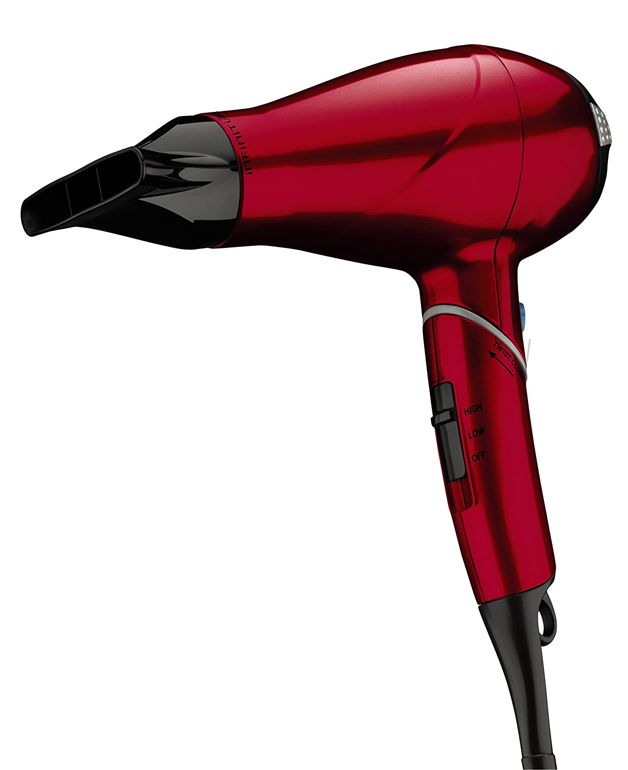 INFINITIPRO BY CONAIR 1875 Watt Compact AC Motor Travel Styler/Hair Dryer with Twist Folding Handle; Red