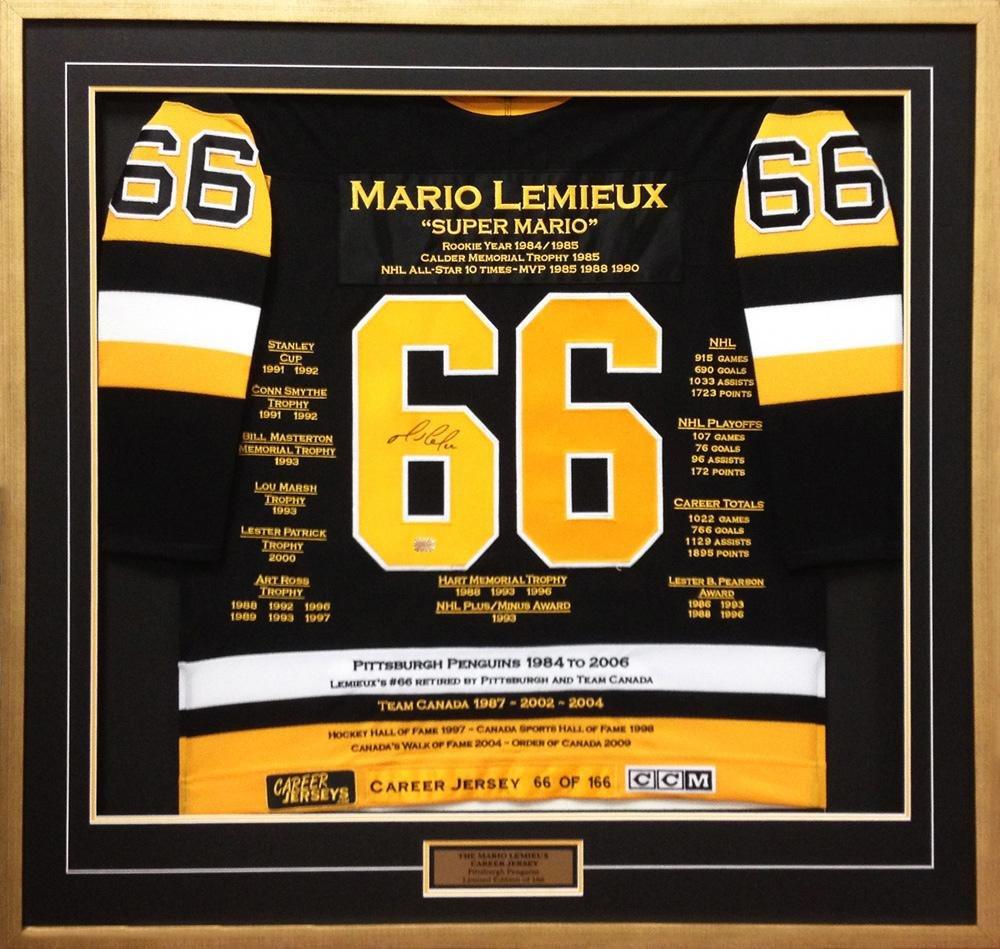 superior quality df67e 5ad06 Autographed Mario Lemieux Jersey - Career #66 of 166 ...