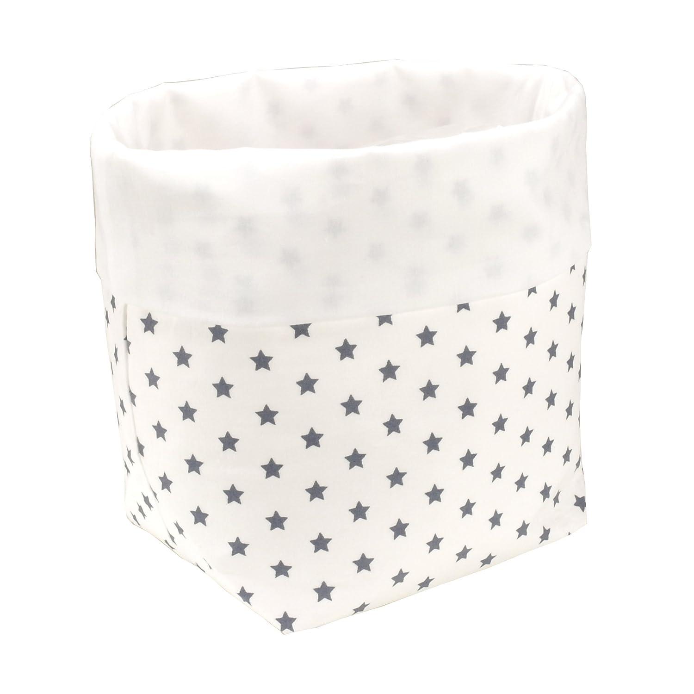 'sugarapple Rangement Panier étoiles Gris en coton, Renforcé Doublé et avec polaire, taille: 19cm x 13,5cm x 13,5cm taille: 19cm x 13