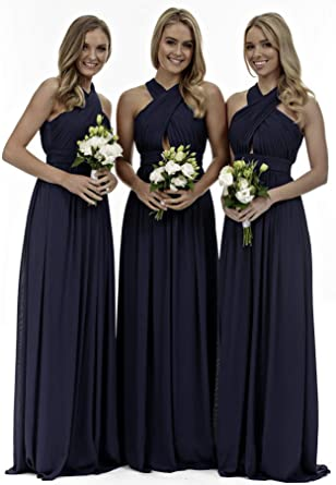 f6442264500 Women s Halter Bridesmaid Dress Long Ruched Bodice Chiffon Evening Party  Gown