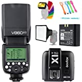 Godox V860II-S High-Speed Sync GN60 2.4G TTL Li-ion Battery Camera Flash Speedlite+X1T-S Wireless Trigger Transmitter Compatible for Sony Camera +15x17cm softbox & Filter +USB LED