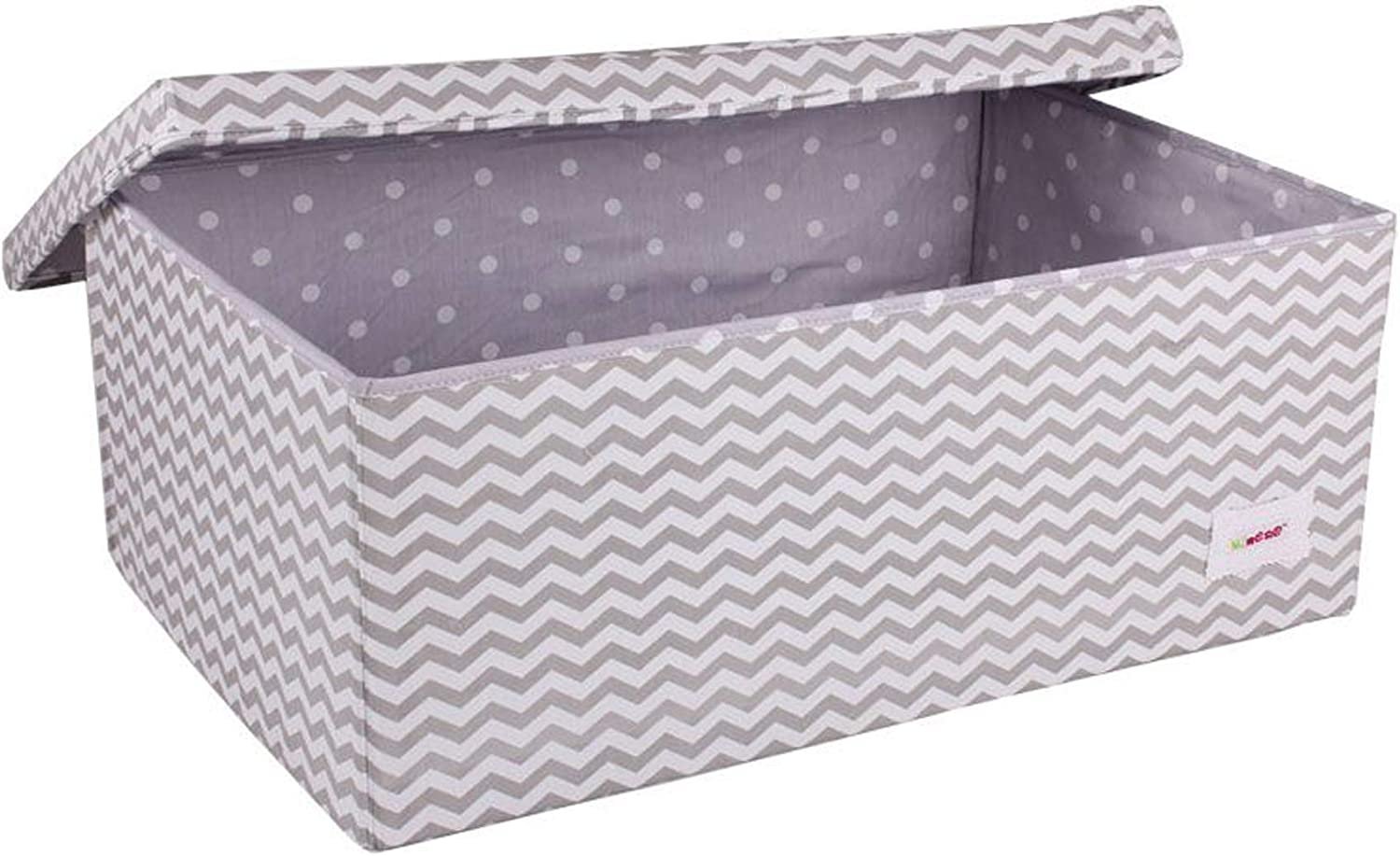 Cotton Storage Box with Lid – Award Winning Large Collapsible Portable Wipe Clean Box, 60 * 40 * 25, Baby Nursery Organiser for Storage, Kid Storage, Blankets, Clothes, Towels, Toys(Grey Chevron)