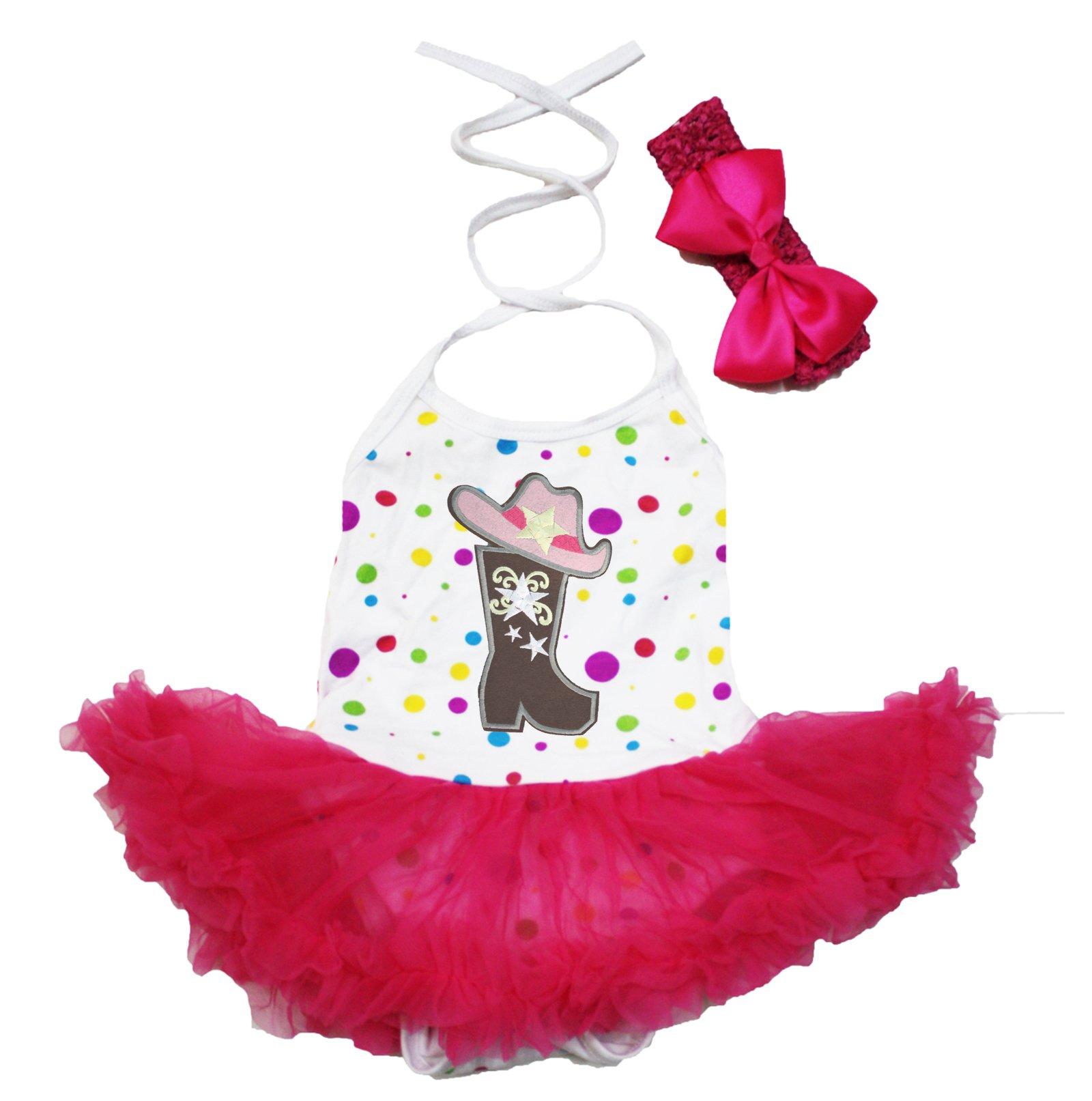Cowgirl Dress Hat Boot White Halter Neck Bodysuit Hot Pink Tutu Clothing Nb-24m (6-12 Months)