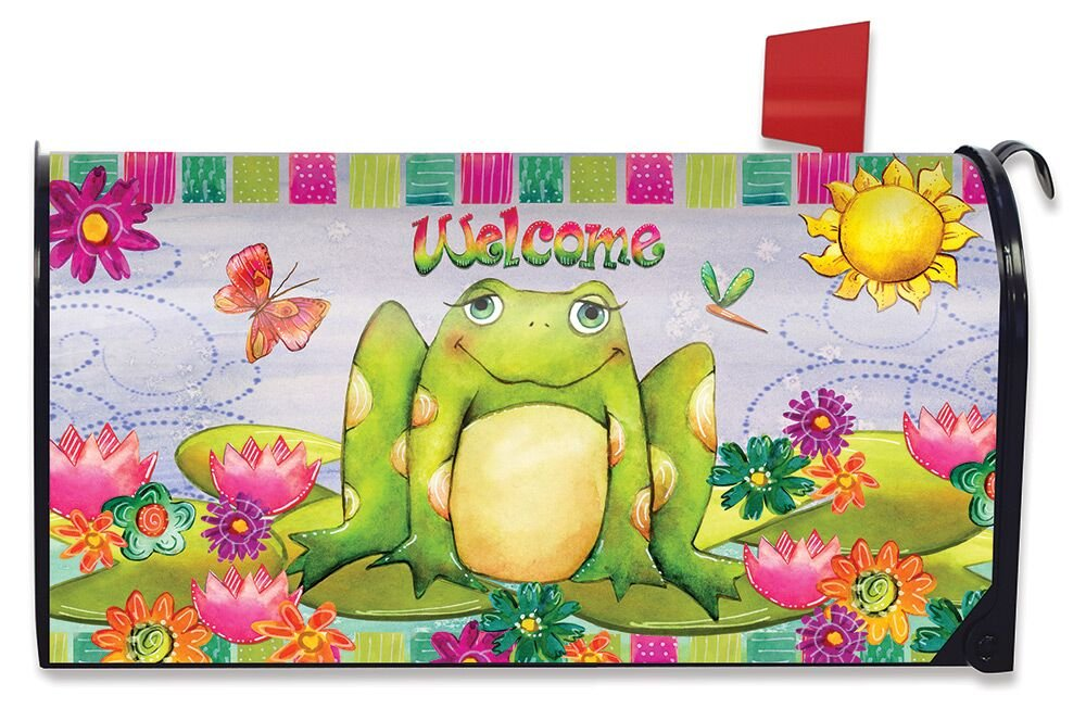 Briarwood Lane Happy Frog Summer Large Magnetic Mailbox Cover Floral Oversized