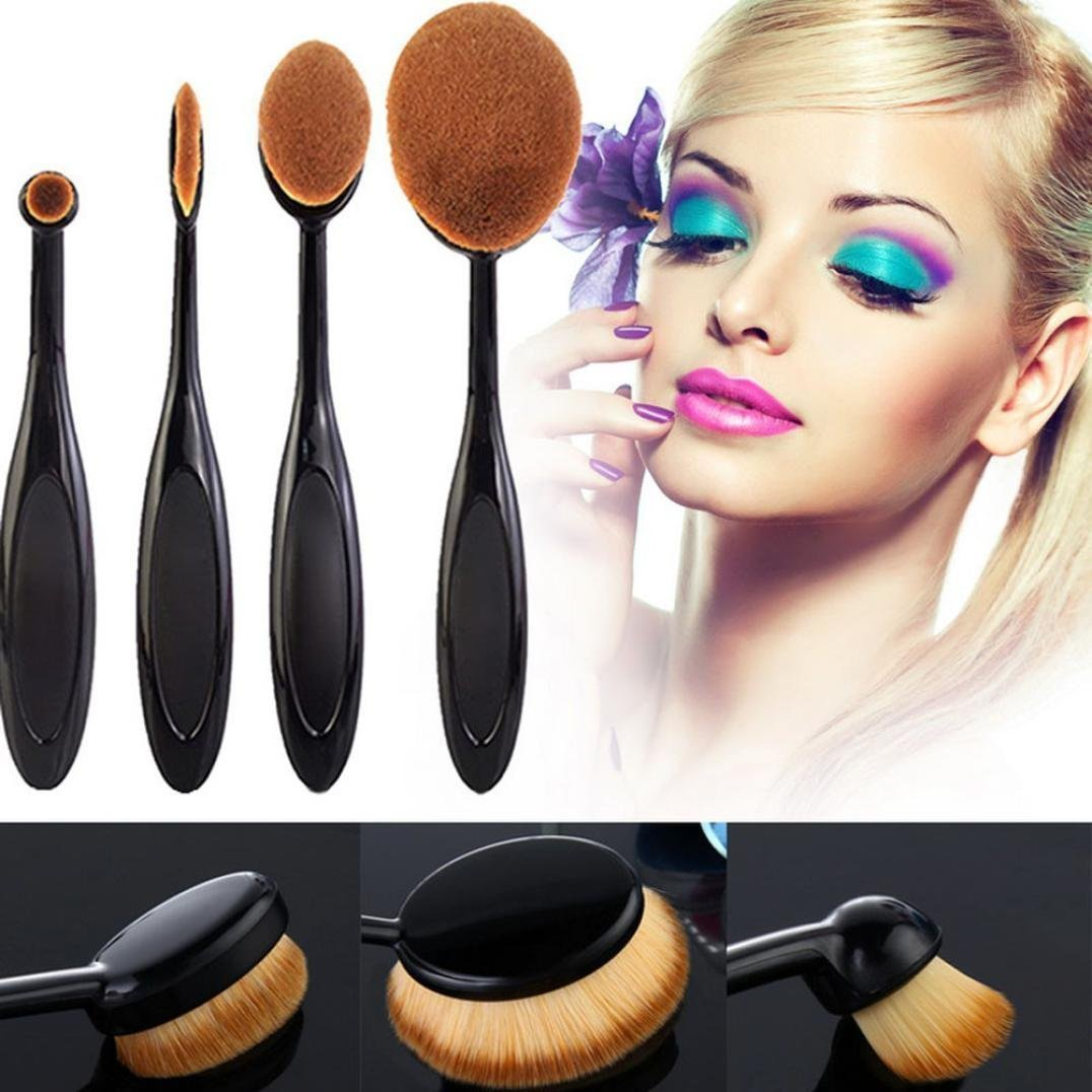 TOPBeauty 4Pcs/Set Toothbrush Shape Eyebrow Makeup Foundation Brush Powder Brush Kits TOPBeauty-22-113