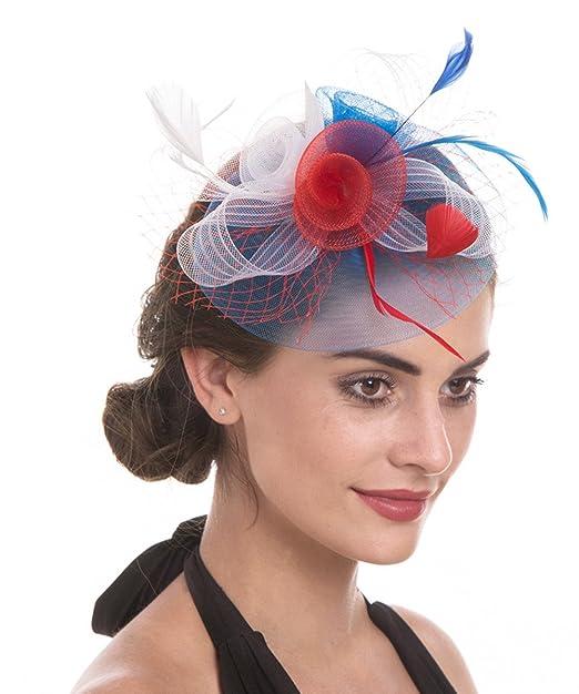 JZK® Fiore retina piume velo fascinator blu scuro con cerchietto    mollette  copricapo cerimonia matrimonio ... 1098f9f2e20d