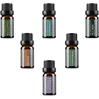 Aromatherapy Top 6 100% Pure Basic Essential Oil Gift Set- 6x10 ML by Wasserstein (Lavender, Tea Tree, Eucalyptus, Lemongrass, Orange, Peppermint)