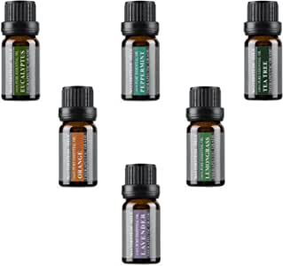Top 6 Aromatherapy Oils 100% Pure Basic Essential Aromatherapy Oils Gift Set with Peppermint, Tea Tree, Lemongrass, Lavender, Orange, Eucalyptus Flavors (Top 6, 10ml)