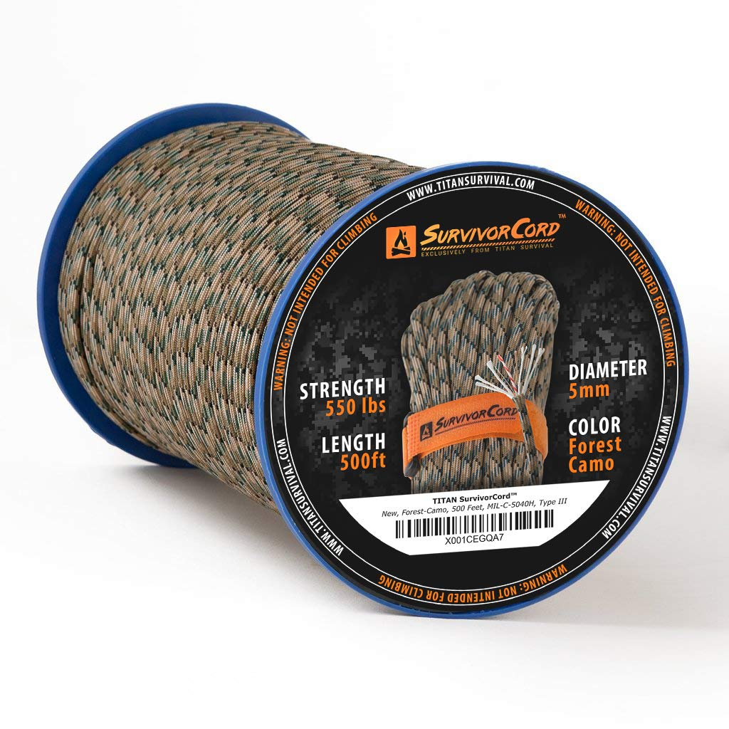 TITAN SurvivorCord Spools | FOREST CAMO, 500 FEET - Patented MIL-SPEC 550 Paracord (3/16'' Diameter) with Integrated Fishing Line, Fire-Starter, and Utility Wire. FREE Paracord Project eBooks included.