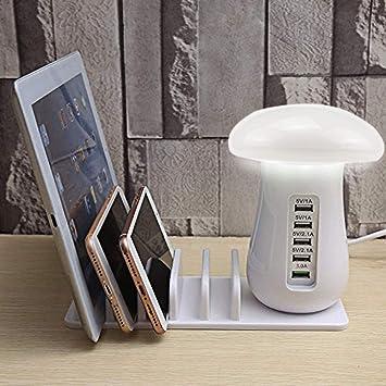 Base de Carga Multi USB, Vaxiuja Lámpara de Escritorio, Lámpara de ...