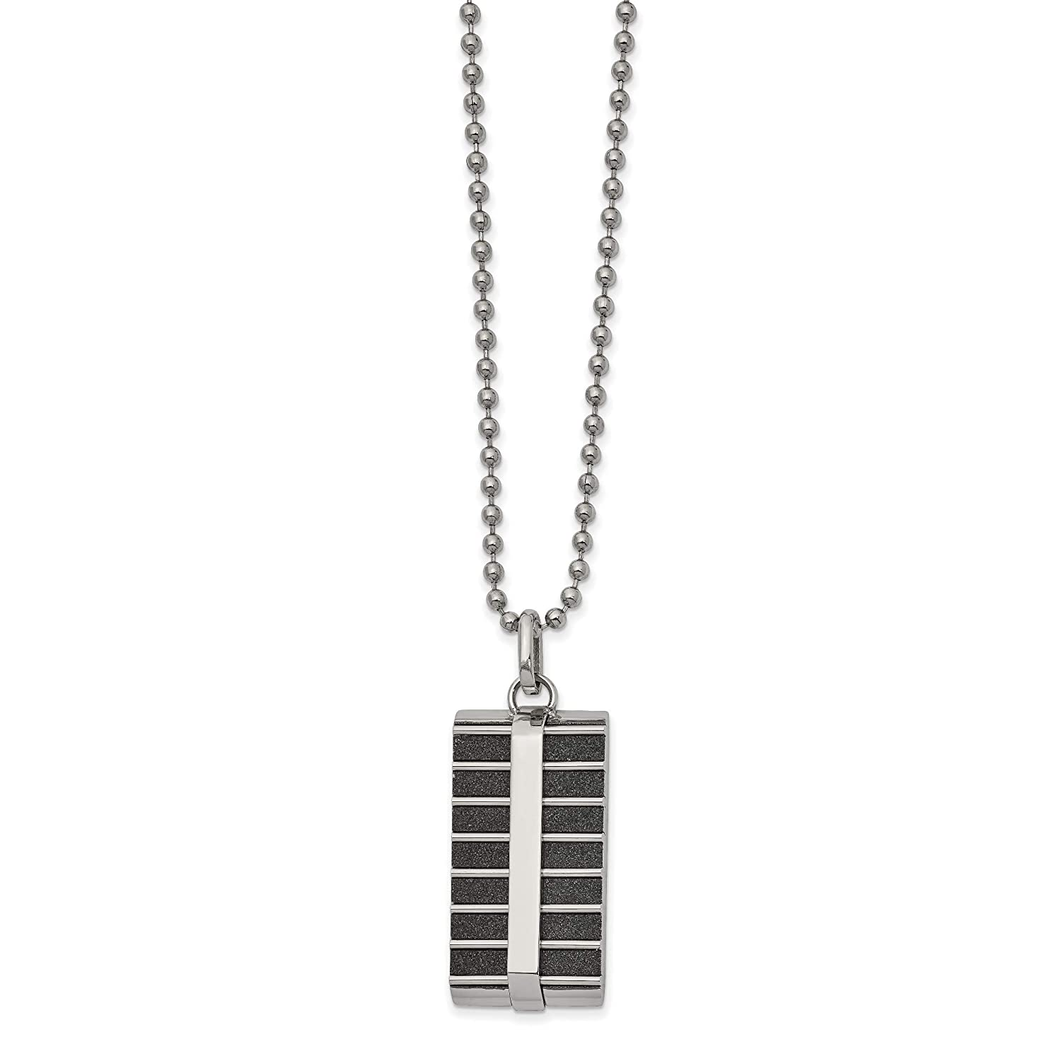 Kira Riley Stainless Steel Polished Black IP-Plated Laser Cut 22 inch Necklace