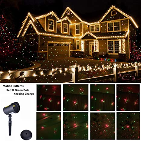 christmas laser lights ip65 waterproof outdoor laser light projector red green moving star pattern - Outdoor Christmas Light Decorators