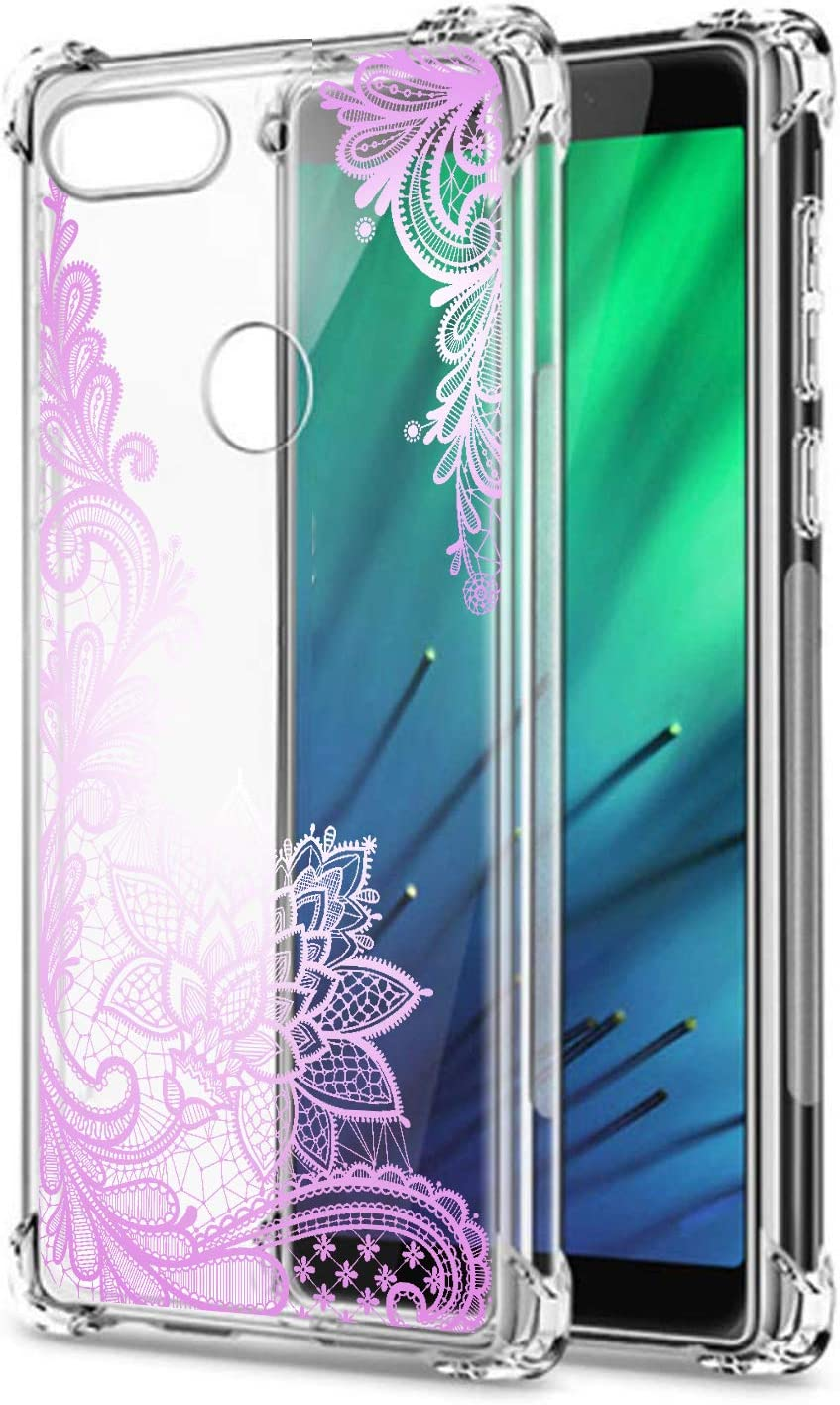 Oihxse Cristal Compatible con Honor Play Funda Transparente TPU Silicona Estuche Airbag Esquinas Anti-Choque Anti Rasguños Diseño Rosa Flower Caso (Flores B9)