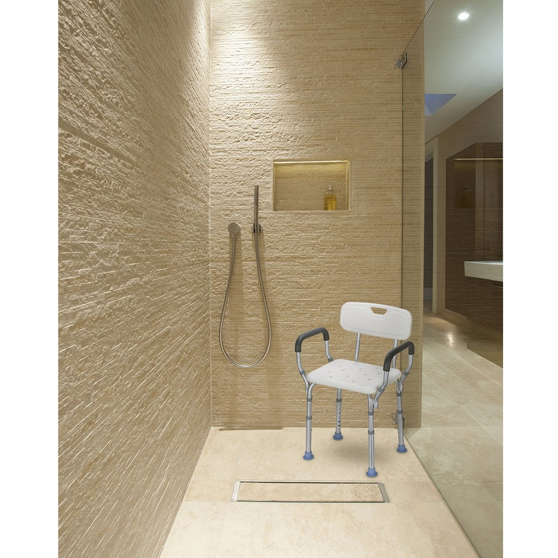 Amazon.com: OasisSpace Heavy Duty Shower Chair with Back - Bathtub ...
