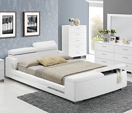 Amazon.com: ACME Layla White Faux Leather Queen Bed with Storage ...