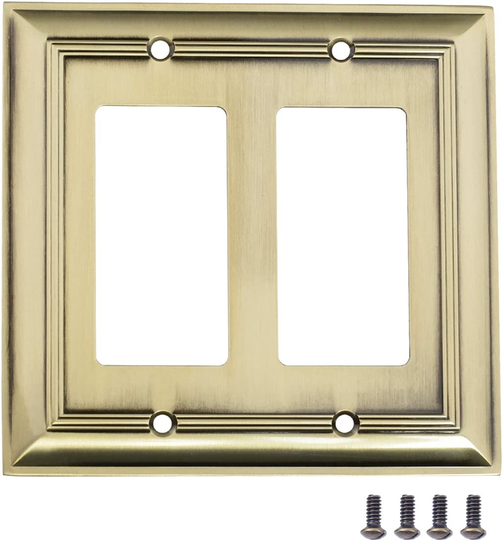 AmazonBasics AB-6005 Double Gang Wall Plate, 2, Antique Brass, 2 Pack