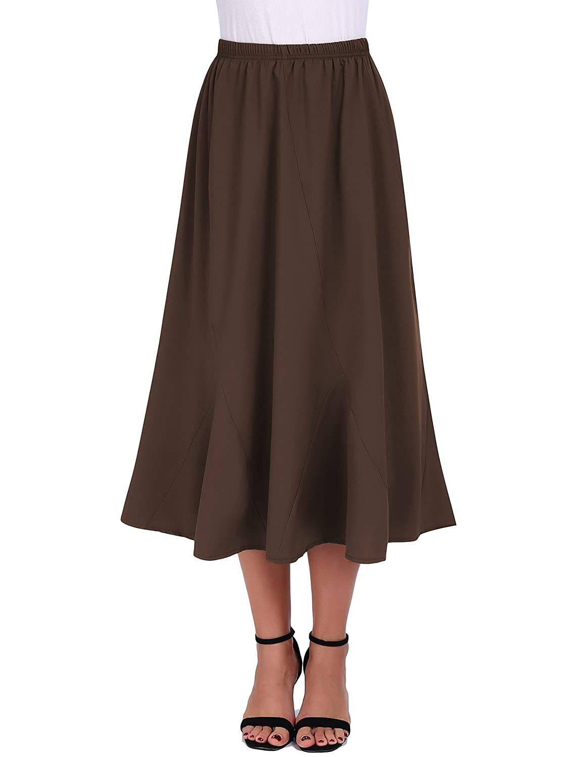 a4a48c9b22 Fashion Women's Skirts Feature: Loose ruffled design, High elastic waist,  Irregular design, A-Line pleated pattern, Below knee length, Knit lining,  ...