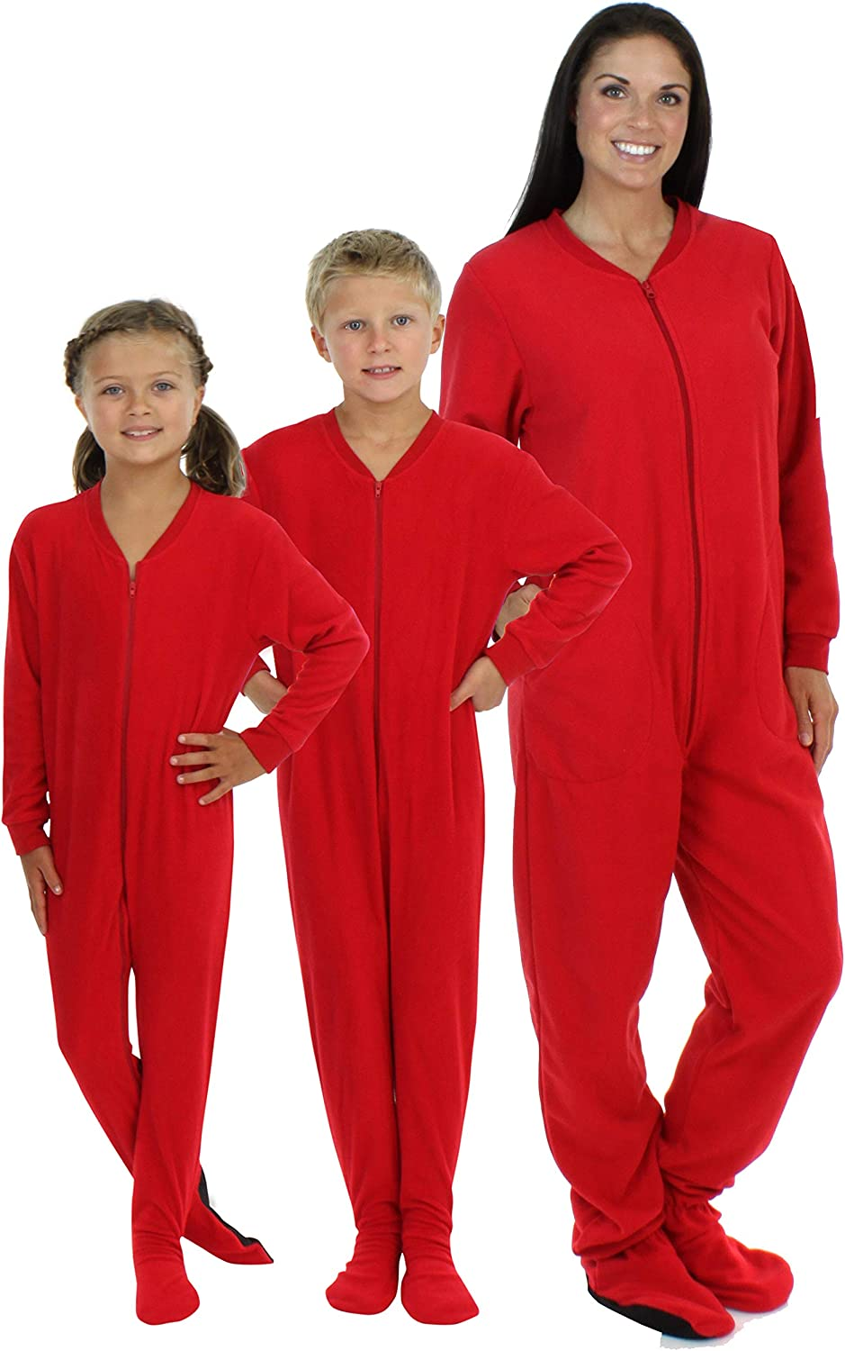 SleepytimePjs Family Matching Red Footed Onesie Fleece Pajamas
