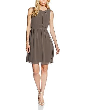 ESPRIT Collection Damen Kleid 056EO1E012-fließende Chiffon Qualität, Braun (Taupe  240), 42  Amazon.de  Bekleidung f7b63ae37b