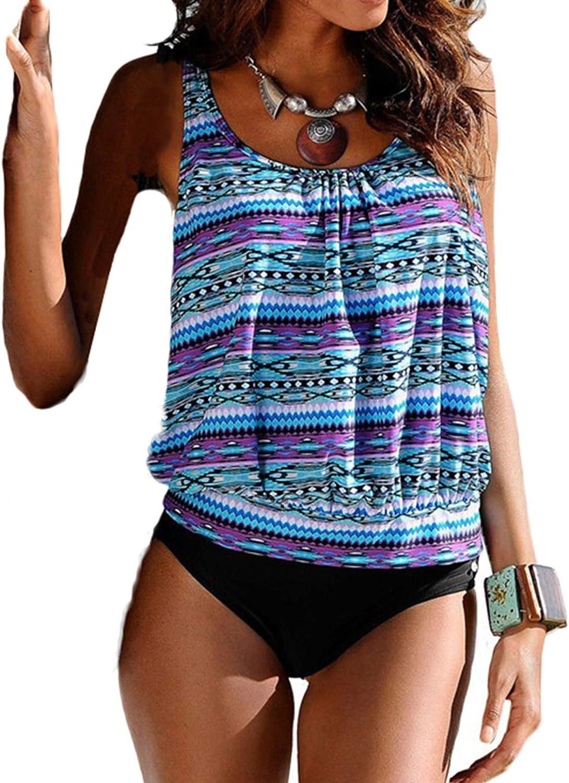 Blugibedramsh Womens Printed Tankini Swimwear Two Piece Swimsuit Set Bathing Suit