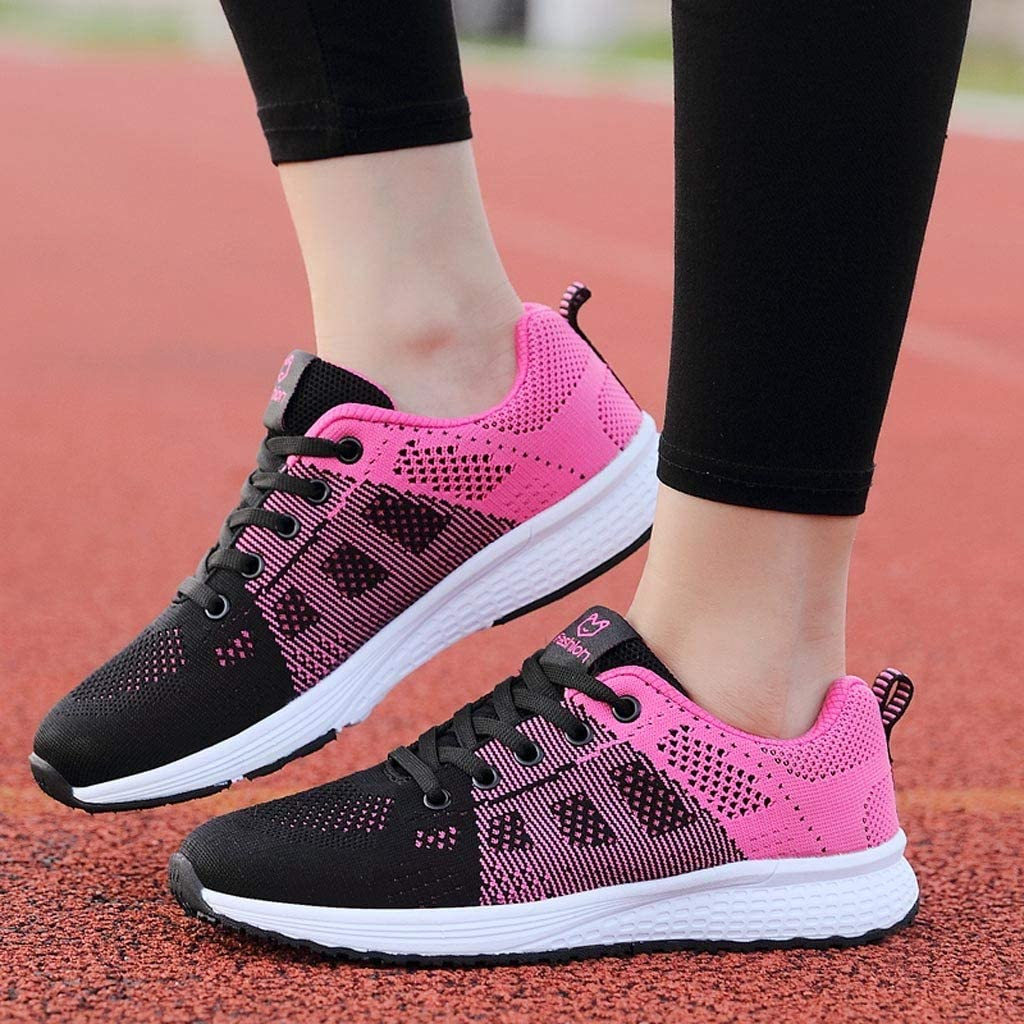 Routefuture Baskets Mode Femmes Chaussures de Course Baskets Sports Running Fitness Shoes Respirantes Sneaker Mesh Baskets Occasionnels Sneakers Outdoor Casual Fonctionnement Rose