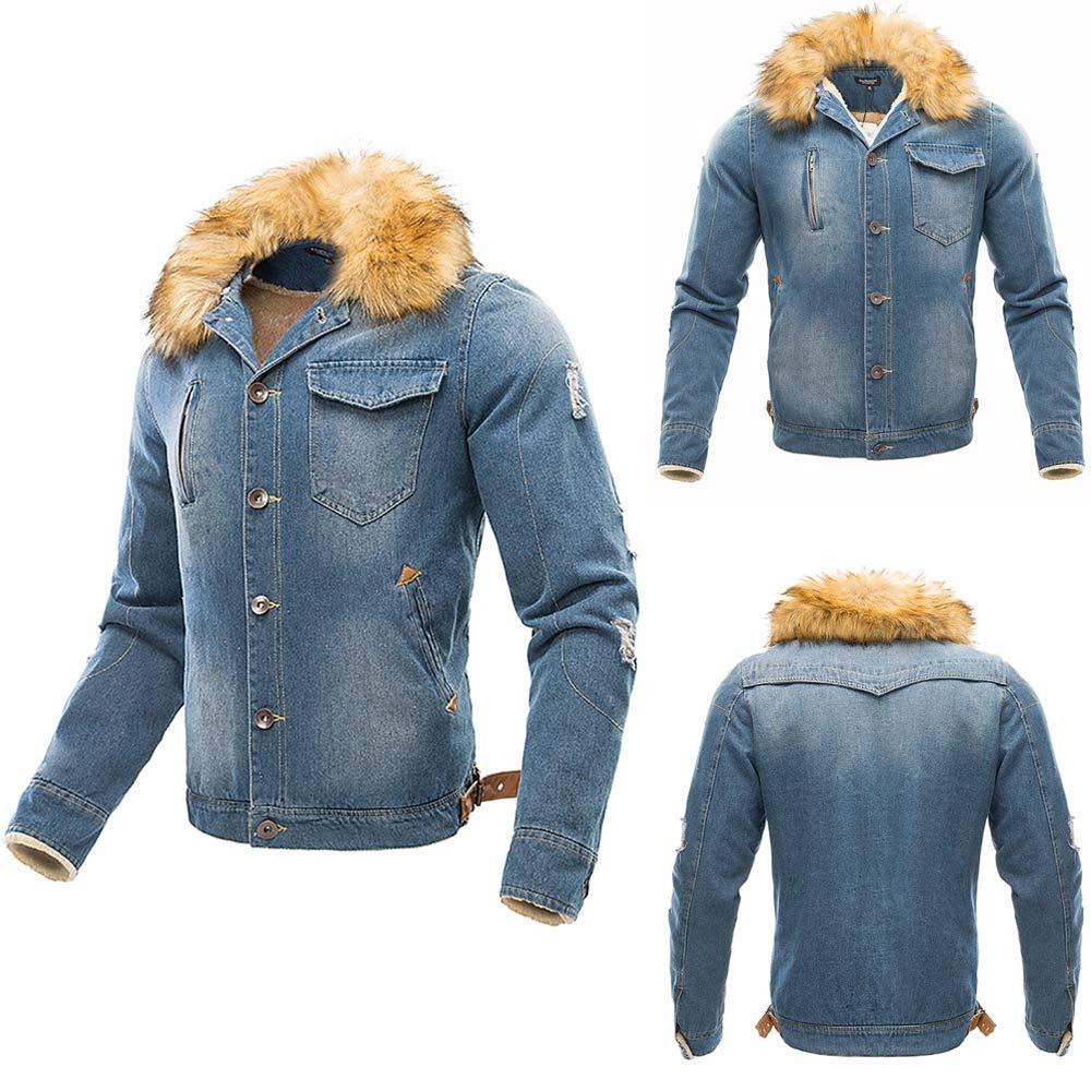 Sannysis Herren Jacke Herbst & Winter Langarm Übergangsjacke Männer Pelz Hals Vintage Distressed Jeansjacke Tops Mantel Demin Outwear