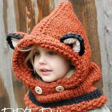 ARAUS-Bonnet Chaud Chapeau Cagoule Renard Bebe Enfant Echarpe Hiver Automne  en Laine Tricote (Orange)  Amazon.fr  Vêtements et accessoires 715bafdfea3