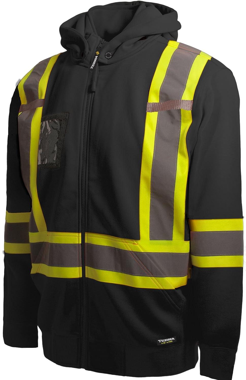 Terra 11-6506-BKXL High-Visibility Detachable Hood Reflective Safety Hoodie X-Large BBH 116506BKXL Black