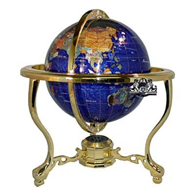 Unique Art 13-Inch Tall Bahama Blue Pearl Swirl Ocean Table Top Gemstone World Globe with Gold Tripod: Home & Kitchen