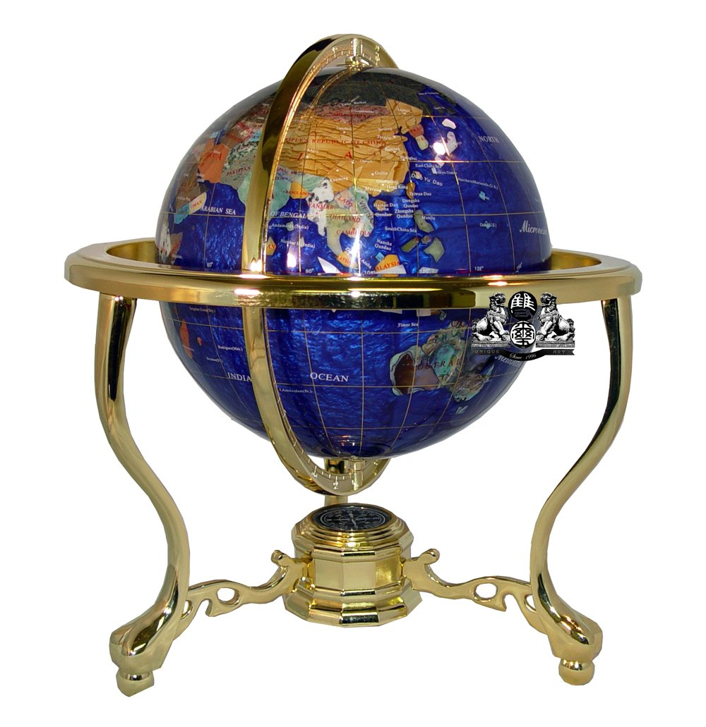 Unique Art 33 cm Tall Bahama Blue Pearl Turbinio Ocean Tavolo Gemstone Globe Mondo con Oro treppiede American Dwelling Group Inc 220-GT-BLUE PEARL-GOLD