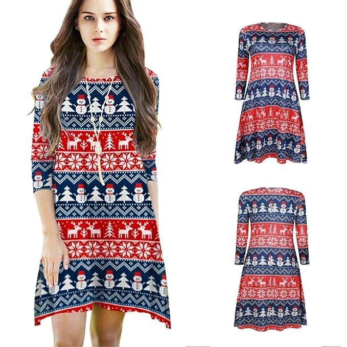6930096328 Mujer Camisón Vestido Primavera Otoño Navidad Elegantes Batas Manga Largo Cuello  Redondo Ropa De Dormir Vintage Fashion Reindeer Muñeco De Nieve Estampadas  ...
