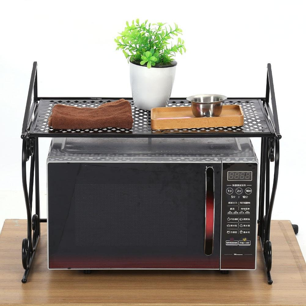 EBTOOLS Microwave Oven Shelf Black Iron Fashionable Folding Microwave Oven Rack Stand Kitchen Storage Counter Shelf Organizer