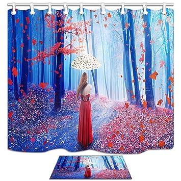 KOTOM Womenly Cortinas de Ducha con esteras, fantasía Mujer Joven con Paraguas en Rojo otoño Forest Waterproof Cortina de baño 69x70inches alfombras de baño ...