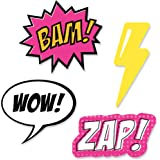 BAM! Girl Superhero - DIY Shaped Baby Shower or Birthday Party Cut-Outs - 24 Count