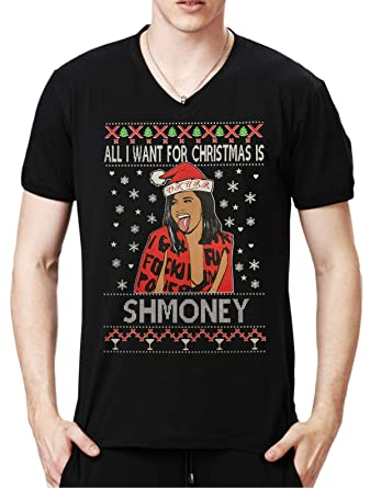 Cardi B Ugly Christmas Sweater Black V Neck T Amazoncom