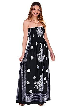 a3df4c0666 Pistachio Tropical Or Floral Print Long Dresses Womens Bandeau Maxi ...