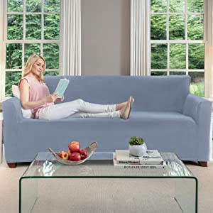 Gorilla Grip Original Fitted Velvet 1 Piece Large Sofa Protector for Seat Width to 70 Inch, Stretchy Furniture Slipcover, Fastener Straps, Spandex Couch Slip Cover Throw for Pets, Dogs, Sofa, Blue