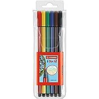 Stabilo Pen 68 Coloring Felt-tip Marker Pen, 1 mm - 6-Color Wallet Set