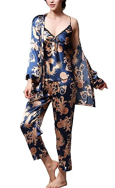Pijamas Mujer Hombre Traje De Pareja Elegantes Suave Sedoso Moda Vintage San Valentin Parejas Impresión Batas