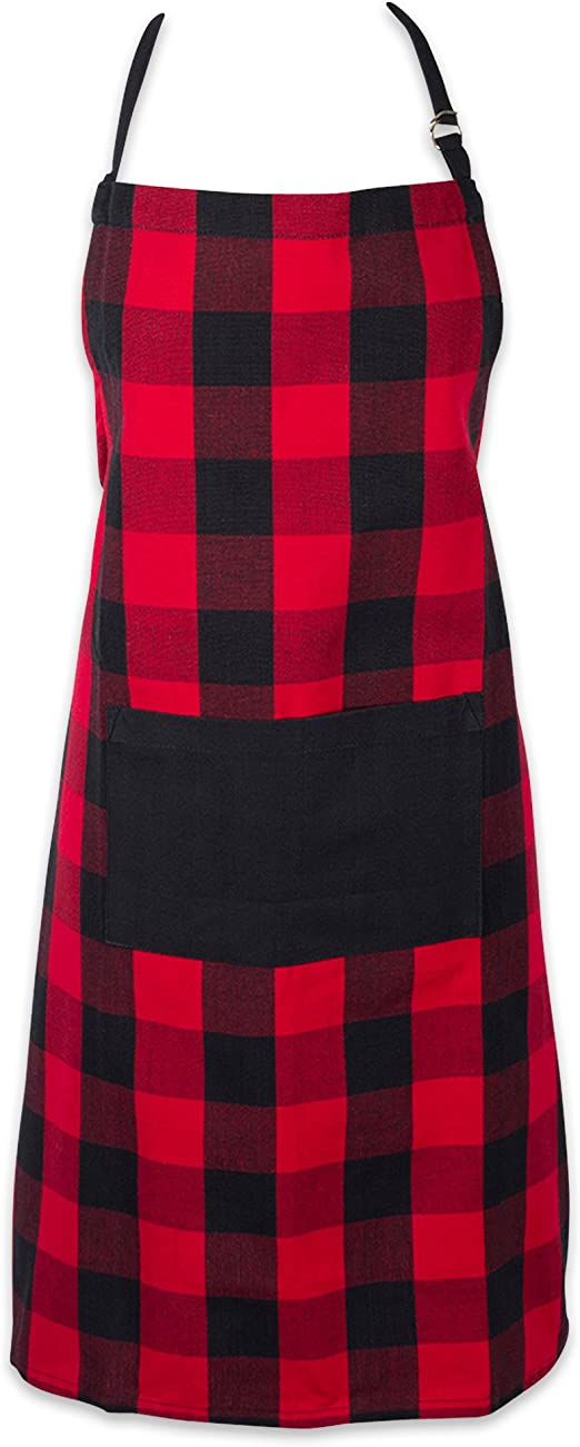 Amazon Com Dii Cotton Adjustable Buffalo Check Plaid Apron With Pocket Extra Long Ties 32 X 28 Men And Women Kitchen Apron For Cooking Baking Crafting Gardening Bbq Red Black