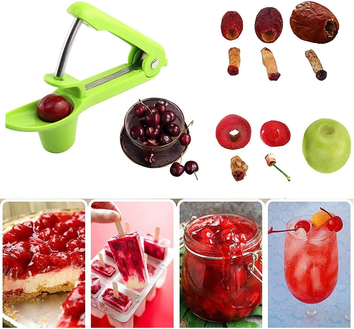 Cherry Multi-Function Fruit Corer and Pitter Remover Portable Olive and Cherry Pitter Remover Jujube and Red Date,Green Suitable for Home Kitchen Cherry Pitter Tool