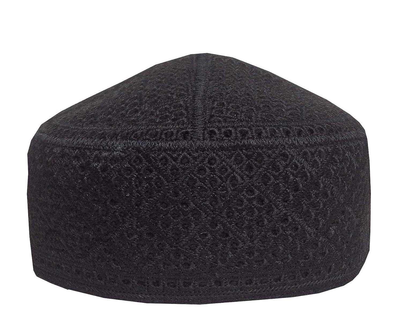 2859283447a NDA Men s Muslim Prayer Hat Eid Skull Cap Pakistani Taqiya Takke Kofia Topi  (Black)  Amazon.co.uk  Clothing