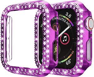 Kamon Watch Case Designed for Apple Watch Series 6, Series 5, 4, 3, 2, 1, Double line Rhinestone Bumper case for Apple Watch 38mm 40mm 42mm 44mm Women Girls (Purple, 40mm)